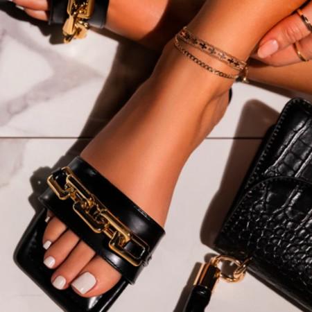 Black Fashion Chain Split Joint Flat Slippers