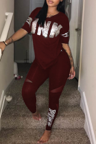 Wine Red Casual Print Sequins Letter O Neck Short Sleeve Two Pieces
