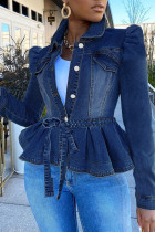 Medium Blue Casual Solid Flounce With Belt Turndown Collar Long Sleeve Denim Coats
