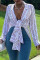 White Fashion Casual Striped Print Basic Turndown Collar Outerwear