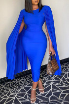 Blue Fashion Sexy Solid Split Joint O Neck Evening Dress