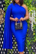 Blue Fashion Sexy Solid Split Joint Oblique Collar Pencil Dresses