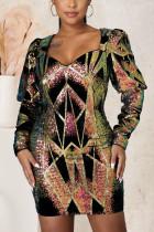 Colour Street Geometric Solid Sequins Mesh V Neck Pencil Skirt Dresses