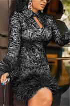 Black Fashion Sexy Print Long Sleeve Dress