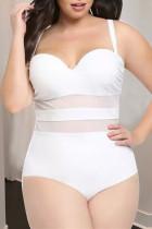 White Sexy Plus Size Mesh Stitching Sling Swimsuit