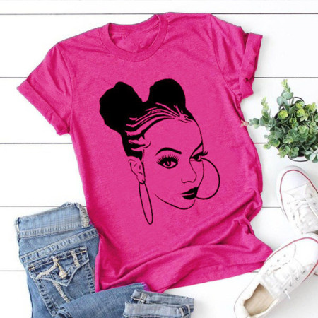 Rose Red Fashion Casual Print Basic O Neck Tops