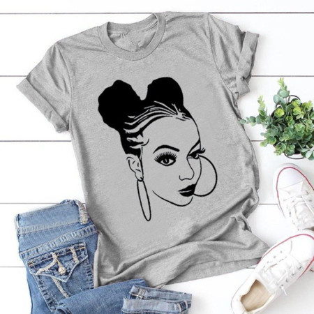 Grey Fashion Casual Print Basic O Neck Tops