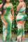 Green Sexy Plus Size Printed Sleeveless Dress