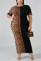 Black Fashion Casual Leopard Short Sleeve Dress