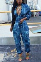 Blue Fashion Casual Turndown Collar Long Sleeve Regular Sleeve Regular Print Jumpsuits