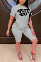 Grey Polyester Fashion Street adult Print Letter Two Piece Suits pencil Short Sleeve
