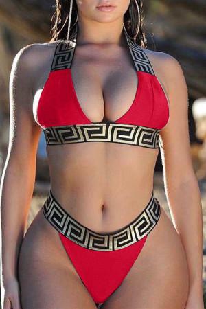Red Euramerican Printed Two-piece Swimwear