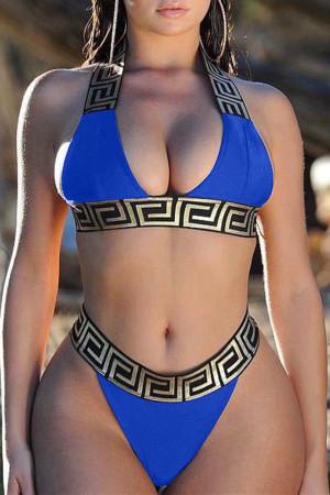 Blue Euramerican Printed Two-piece Swimwear