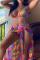 Multicolor Sexy Print Split Joint Swimwears