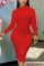 Red Sexy Solid Split Joint O Neck Pencil Skirt Dresses