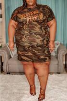 Camouflage Fashion Plus Size Letter Camouflage Print Basic O Neck Short Sleeve Dress