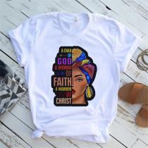 Multi-color Fashion Casual Print Basic O Neck Tops
