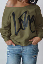 Army Green Leisure Round Neck Long Sleeves Letters Printing Pullover