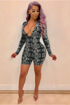 Grey Polyester Long Sleeve Mid Patchwork Regular shorts  Jumpsuits & Rompers