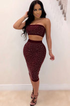 Wine Red Polyester Sexy Fashion Patchwork diamonds Hip skirt  Two-Piece Dress