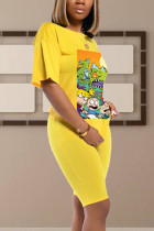 Yellow Polyester adult Casual Fashion Ma'am Two Piece Suits Print pencil Short Sleeve  Two-Piece Short Set