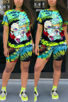 Multicolor Fashion Casual Printed Sports Two-piece Set
