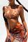 Brown Sexy Leopard Split Joint Frenulum Swimwears