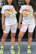 Pink Fashion Casual Printed Sports Two-piece Set