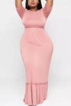 Pink Sexy Temperament Large Size Knit Round Neck Dress