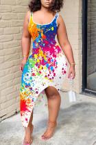 White Casual Print Spaghetti Strap Sling Dress Dresses