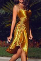 Gold Sexy Solid Split Joint Slit Spaghetti Strap Irregular Dress Dresses