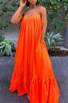 Orange Sexy Casual Solid Backless Spaghetti Strap Loose Sling Dress
