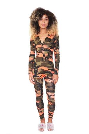Orange Sexy Fashion Button Print Camouflage Patchwork Polyester Long Sleeve V Neck