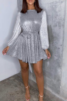 Silver Polyester OL Princess sleeve Long Sleeves O neck Princess Dress Knee-Length Solid Patchwork Sequin