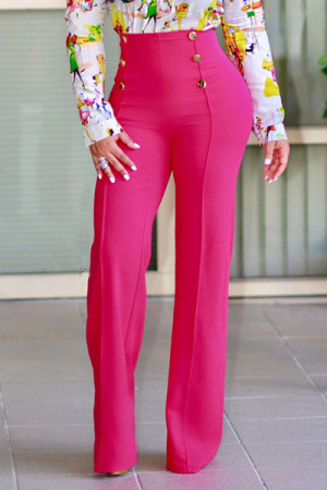 Rose Stylish High Waist Double-breasted Design Polyester Pants