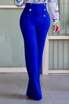 Blue Stylish High Waist Double-breasted Design Polyester Pants