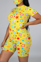 Yellow Fashion Casual Sportswear Living O Neck Short Sleeve Regular Sleeve Print Plus Size Set(With Mask)