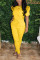 Yellow venetian Fashion Casual adult Ma'am Solid Two Piece Suits Harlan pants Short Sleeve Two Pieces