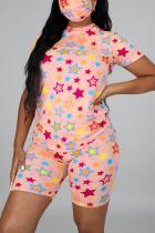Pink Fashion Casual Sportswear Living O Neck Short Sleeve Regular Sleeve Print Plus Size Set(With Mask)