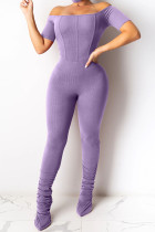 purple Fashion Sexy Solid Polyester Short Sleeve one word collar Jumpsuits