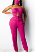 rose red Sexy bandage Solid Polyester Sleeveless Wrapped Jumpsuits