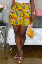 Yellow Fashion Sexy Printed High Waist Skirt