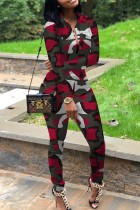 Red Polyester adult Street Fashion Camouflage Print Two Piece Suits Patchwork pencil Long Sleeve  Two-pi
