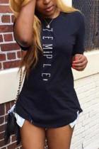 Black Fashion Casual Printed Short-sleeved T-shirt Top
