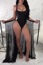 Black Sexy See-Through Two-piece Swimwear