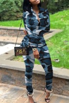 Blue Polyester adult Street Fashion Camouflage Print Two Piece Suits Patchwork pencil Long Sleeve  Two-pi