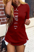 Red Fashion Casual Printed Short-sleeved T-shirt Top