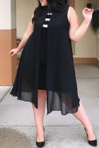 Black Trendy Patchwork Chiffon Knee Length Dress