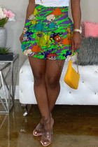 Green Fashion Sexy Printed High Waist Skirt