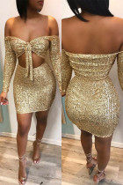 Gold Polyester Sexy Solid Two Piece Suits Hip skirt Long Sleeve  Two-Piece Dress